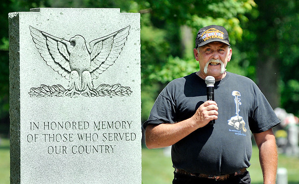 John P. Cleary   The Herald Bulletin<br /> Operation Iraqi Freedom veteran Larry Hammer spoke at the annual Memorial Day remembrance service Monday at Maplewood Cemetery.