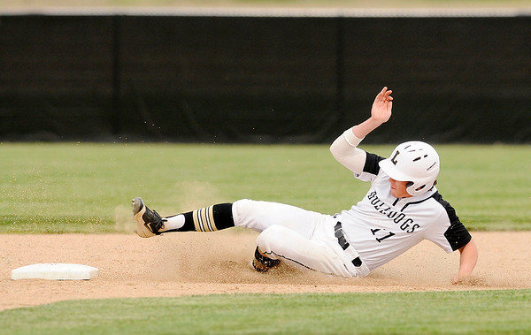 Don Knight   The Herald Bulletin<br /> Lapel's Wilson Satchell steals second as the Bulldogs hosted the Sheridan Blackhawks on Friday.