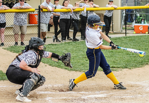 Chris Martin | For The Herald Bulletin<br /> Shenandoah's Bridget Lohrey hits a single against Lapel Saturday in the first game of a double header.