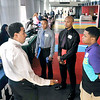 John P. Cleary | The Herald Bulletin<br /> Tyrone Thomas, manufacturing senior manager NTN Driveshaft Anderson, talks with Andrew Nunn, Chris Nunn, and Kris Perry at the Madison County Black Chamber of Commerce Job Fair Thursday held at Hoosier Park Racing & Casino.