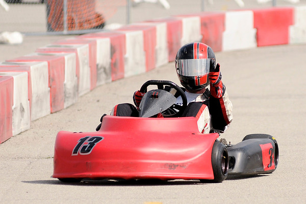 Don Knight | The Herald Bulletin<br /> Derek Hastings has a comfortable lead on his way to the checkered flag in the Briggs LO206 feature during the 24th annual Mayor's Cup Grand Prix at Mounds Mall on Saturday.