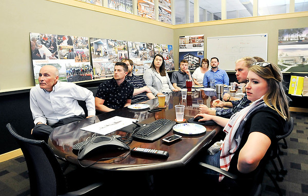John P. Cleary   The Herald Bulletin<br /> Mike Montgomery and the krM Architecture design team get together each Friday over lunch to critique projects they are working on.
