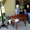 Don Knight | The Herald Bulletin<br /> Ron and Wilma Carey salvaged various table tops and logs turning them into new furniture that they are selling to raise money for the Madison County Historical Society.