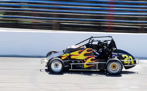 Don Knight   The Herald Bulletin JoJo Helberg drives the Spies Racing number 24 around the oval during practice for the Little 500 at the Anderson Speedway on Wednesday.