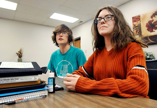John P. Cleary | The Herald Bulletin  <br /> Alexandria High School seniors  Phillip Kaufinger and Nacoma Calendrelli talk about being able to vote for the first time this primary election.