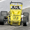 John P. Cleary | The Herald Bulletin<br /> Dave Osborn gets a little loose coming off turn four during his qualification attempt Friday. After bouncing off the wall twice on Thursday Osborn went to a back-up car Friday and bumped his way into the race starting 32nd.