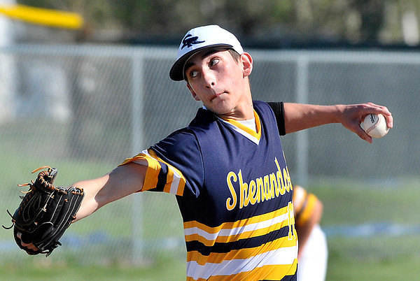 John P. Cleary   The Herald Bulletin<br /> Shenandoah's pitcher Hadden Myers eyes the plate as he throws the ball.