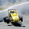 Don Knight | The Herald Bulletin<br /> Dave Osborn gets into the wall on a qualifying run for the Little 500 at the Anderson Speedway on Thursday.