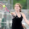 Don Knight | The Herald Bulletin<br /> Makayla McDole returns a volley as McDole and Chloe Renihan faced Westfield's Katy Zaladek and Maddie Heilman at No. 2 doubles on Monday.