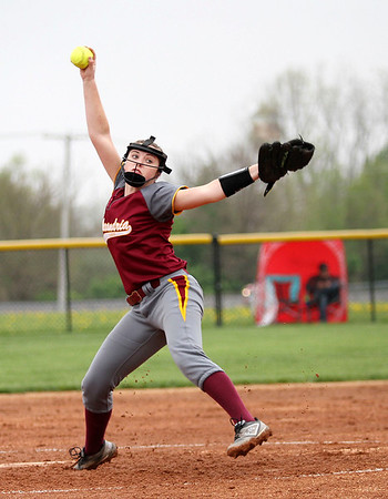 Chris Martin | For The Herald Bulletin<br /> Kendall Parker pitches for Alexandria against Sheridan Friday night at home.