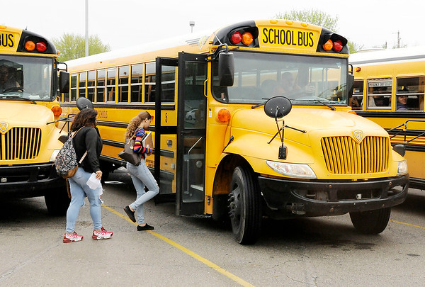 Don Knight   The Herald Bulletin<br /> Students leave Anderson High School at the end of the school day on Thursday.