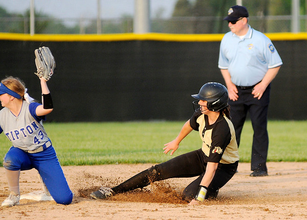 Don Knight | The Herald Bulletin<br /> Lapel's Ashlynn Allman slides into second as the Bullodgs faced the Tipton Blue Devils in the regional on Tuesday.
