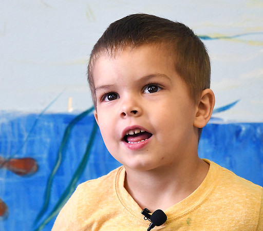 John P. Cleary | The Herald Bulletin <br /> Children at Gateway daycare talk about their mothers for a Mother's Day feature. Here Zayden Stutts, 4, talks about his mother.