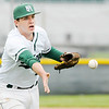 Don Knight | The Herald Bulletin<br /> Pendleton Heights pitcher Luke Hargrave tosses the ball to first to force a  New Palestine batter out on Friday.