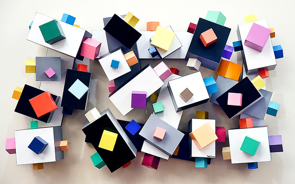 """John P. Cleary   The Herald Bulletin <br /> Todd Gray """"Pop Geometry"""" exhibit at the Anderson Museum of Art.<br /> This piece is titled """"Lucky Charms."""""""