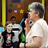John P. Cleary | The Herald Bulletin <br /> Mary Douramacos talks to the students of the Kids Club at the Liberty Christian Elementary School recently. Mary is a winner of the 2019 Max Beigh award.