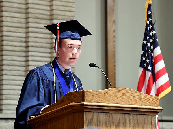John P. Cleary | The Herald Bulletin <br /> Indiana Christian Academy class of 2019 Valedictorian Bradley Forney gives his address to his classmates during graduation Friday evening.