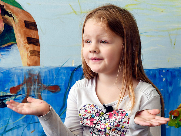 John P. Cleary | The Herald Bulletin <br /> Children at Gateway daycare talk about their mothers for a Mother's Day feature. Here Trinity Farmer, 5, talks about her mother.