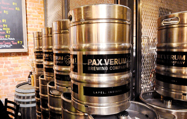 Don Knight | The Herald Bulletin<br /> Kegs stacked in the corner at Pax Verum Brewing in Lapel.