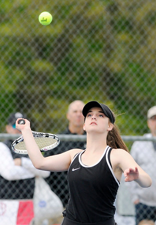 Don Knight | The Herald Bulletin<br /> Lapel's Bailey Baxter returns a volley to Westfield's Brooke Rodgers in the No. 1 singles match as Lapel hosted Westfield on Monday.