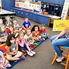 John P. Cleary | The Herald Bulletin <br /> Frankton Elementary School On My Way Pre-K teacher Teresa Clark reads a story to her students this past week.