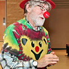 "Mark Maynard | for The Herald Bulletin<br /> Dr. Mark Kane assumes his clown alter ego ""Marcos"" after the screening of ""ClownVets"" at Anderson University on Thursday evening."