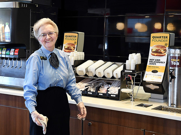 John P. Cleary   The Herald Bulletin<br /> Elwood McDonald's lobby manager is 82 year-old Rosie Rigney who has worked at the restaurant for 19 years.