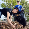 John P. Cleary | The Herald Bulletin <br /> Madison-Grant High School sophomores Zeb Taylor, 16, and Alex Singer, 16, bag up leaves as they cleanup the playground at Summitville Elementary School Wednesday morning as part of the schools Community Service Day.