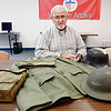 John P. Cleary | The Herald Bulletin <br /> Madison County Veterans Service officer Bruce Dunham talks about his grandfathers WW I experiences with some of his items from his time in service, including his protective gas mask, uniform, dog tags, helmet, and also a German helmet.