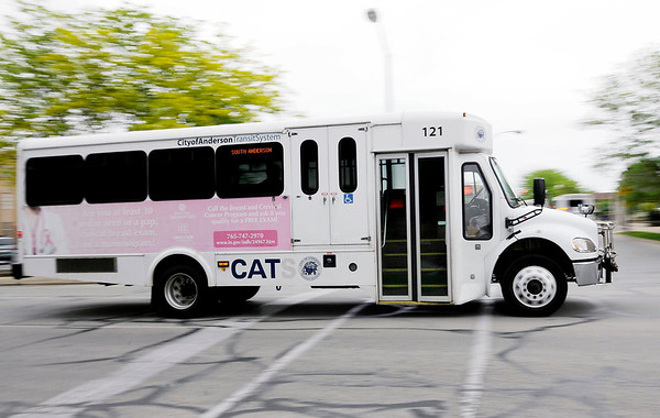 Don Knight | The Herald Bulletin<br /> CATS buses leave the terminal on Tuesday. Anderson is one of 17 markets in Indiana for advertising company Mesmerize.