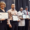 "John P. Cleary | The Herald Bulletin <br /> The Anderson Chapter Indiana Black Expo 2019 Corporate Luncheon.<br /> Area boxers and coaches who were honored at the luncheon are Carlotta ""Jo"" Walker, Cedric Johnson, Efren Brown, Larry Taylor, and Jimmy Morgan."