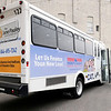 Don Knight | The Herald Bulletin<br /> A rider exits a CATS bus at the city terminal on Tuesday. Already this year, the city has turned a $10,000 profit from advertising on buses and bus stops.