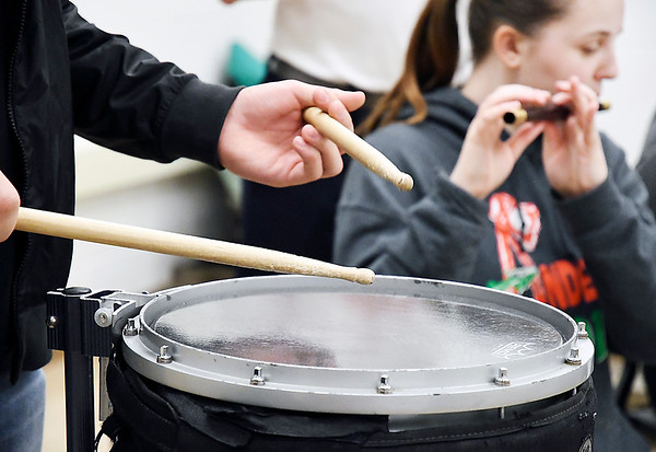 John P. Cleary | The Herald Bulletin <br /> Anderson High School marching band director Richard Geisler has started a fife and drum corps as another specialized ensemble of the march band.