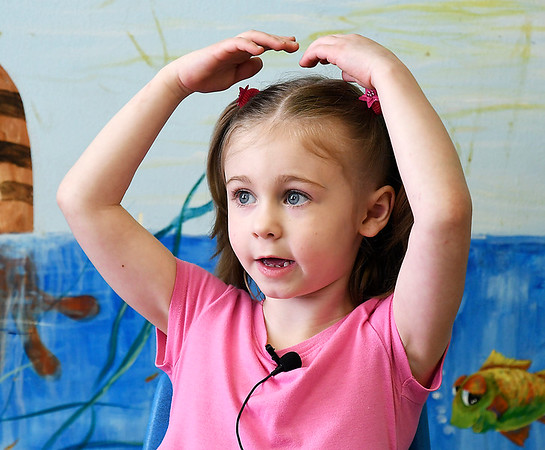 John P. Cleary | The Herald Bulletin <br /> Children at Gateway daycare talk about their mothers for a Mother's Day feature. Here Rylee Skinner, 5, talks about her mother.