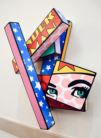 """John P. Cleary   The Herald Bulletin <br /> Todd Gray """"Pop Geometry"""" exhibit at the Anderson Museum of Art.<br /> This piece is titled """"Wookie."""""""