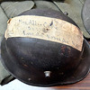 John P. Cleary | The Herald Bulletin <br /> Madison County Veterans Service officer Bruce Dunham talks about his grandfathers WW I experiences. Dunham's grandfather, Elmer Cable, had this German helmet mailed back home to his wife with just a piece of tape on it with the address.