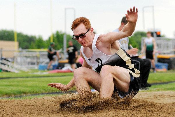 Don Knight | The Herald Bulletin<br /> Daleville's Zach Neff participates in the long jump during the boys track sectional at Mt. Vernon on Friday.