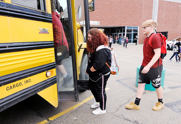Don Knight   The Herald Bulletin<br /> Students leave Anderson High School at the end of the school day on Thursday. Because of biological rhythms, say experts, teens become tired later at night than adults, requiring them to sleep later into the morning for a good night's rest.
