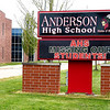 The electronic sign out front of Anderson High School flashes messages to students to stay safe, healthy and that the teachers and staff miss their students since the COVID-19 crisis has closed all the schools and students going to at-home eLearning for the rest of the school year.