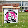 "With a ""Rosie the Riveter"" theme, this large sign appears on the lawn of Highland Middle School to proclaim the schools' lunch ladies as heroes for the job they do during these trying times on this, School Lunch Hero Day, May 1st, 2020."