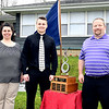 Cade Vernetti of Alexandria-Monroe High School was named the 2020 Red Haven Memorial Award winner. Cade is shown here with his parents, Dannae and Greg Vernetti outside their home during the award presentation by the Anderson Noon Exchange Club Tuesday.