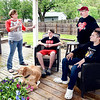 Since the weather has gotten nicer the King family, Gina, Cooper, 12, Phil,   Connor, 14, and the family dog Crimson,  has utilized their covered patio and deck more during this stay-at-home order to grill out and enjoy the warmer days while staying at home.