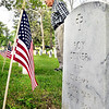 Willie Dodge looks over the headstones as he walks through the veterans section of Maplewood Cemetery Monday. Dodge came to visit the grave of his brother Ted, who was a U.S. Air Force veteran.