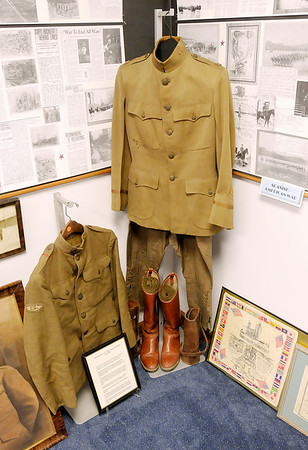 World War I uniforms are part of the military exhibit on display at the Madison County Historical Society.