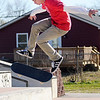 Joe Robinson, 17, rides his skate board at Anderson's skate park on Thursday afternoon. Sunny skies returned to the area Thursday after a bought of soggy windy weather influenced by Hurricane Sandy.