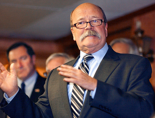 Democratic gubernatorial candidate John Gregg spoke to supporters as he visited Lucy's Family Diner Wednesday morning with his running mate Vi Simpson and Democrat Senate candidate Joe Donnelly.