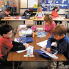 Kindergarten students work on their projects in Mrs. Gayscott's classroom at Lapel Elementary School Tuesday.
