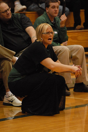 Pendleton Heights girls basketball coach Holly Hollinger watches the Arabians work the ball beneath the basket. (Rick wanted this for a future story. Thanks)