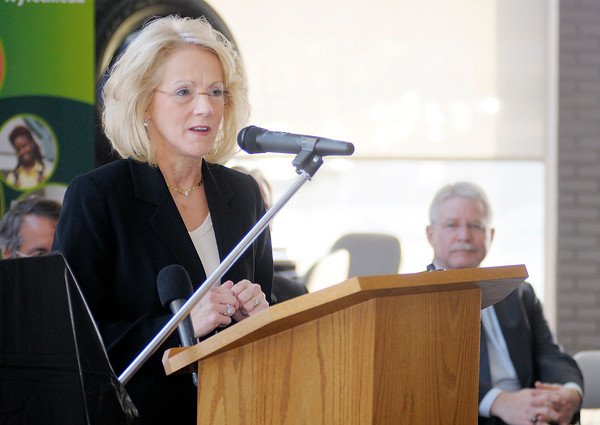 Autoworld President Mary Jamerson announces plans to move both Myers and Ford Autoworld to the former GM Plant 11 site on Scatterfield on Friday.