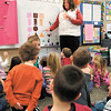 Lapel Elementary kindergarten teacher goes through an exercise with her students dealing with shapes and colors.